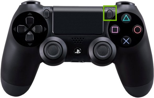 Controller with Options button highlighted.