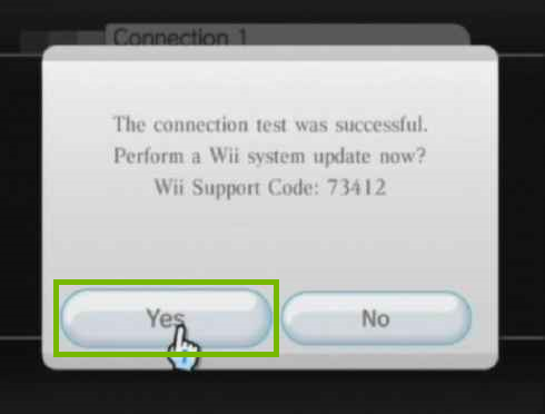 update notification with prompt to update system software and the yes button is highlighted