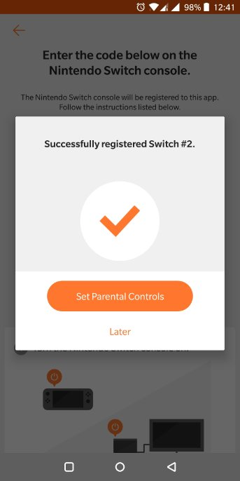 A successfully registered app and switch