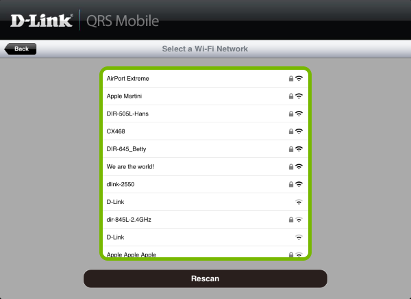 List of available Wi-Fi networks highlighted in QRS Mobile app.