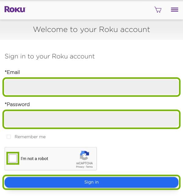 Email and password field, captcha checkbox and Sign In button highlighted on Roku account login page.