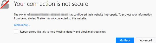 Firefox security warning.