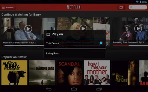 Netflix app cast screen displaying a list of available devices to cast to.