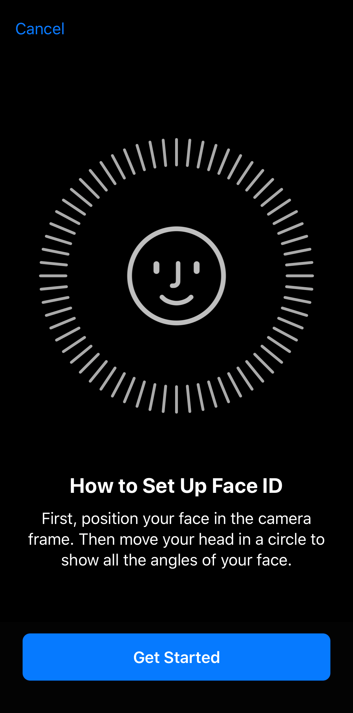 Face ID setup screen displaying setup overview and get started button.