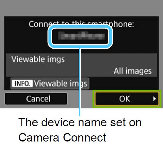 Camera screen showing camera connected with the OK button highlighted