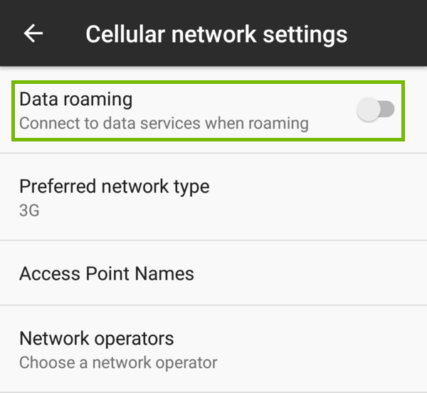 Wireless and networks with Data roaming highlighted.