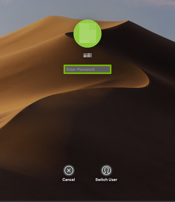 macOS login screen with password box highlighted.