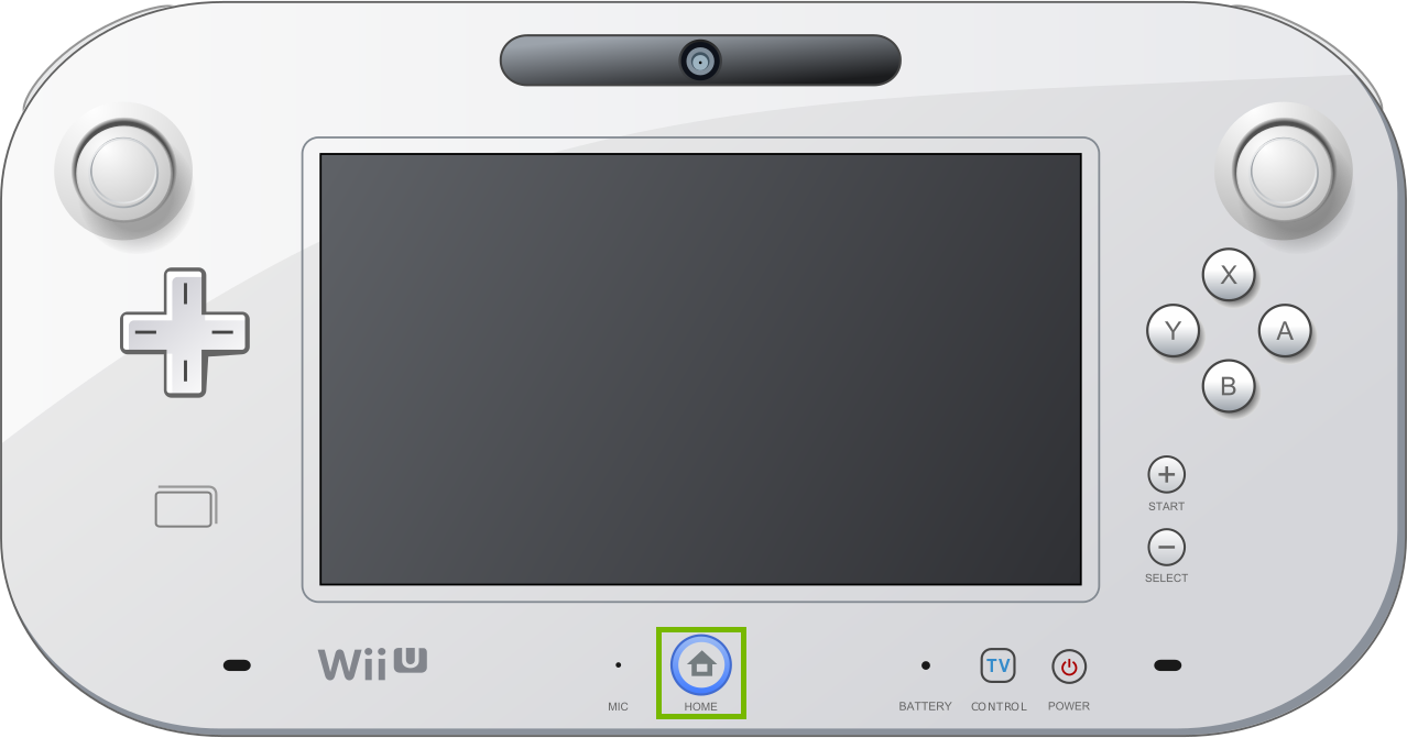 WiiU gamepad with home button highlighted