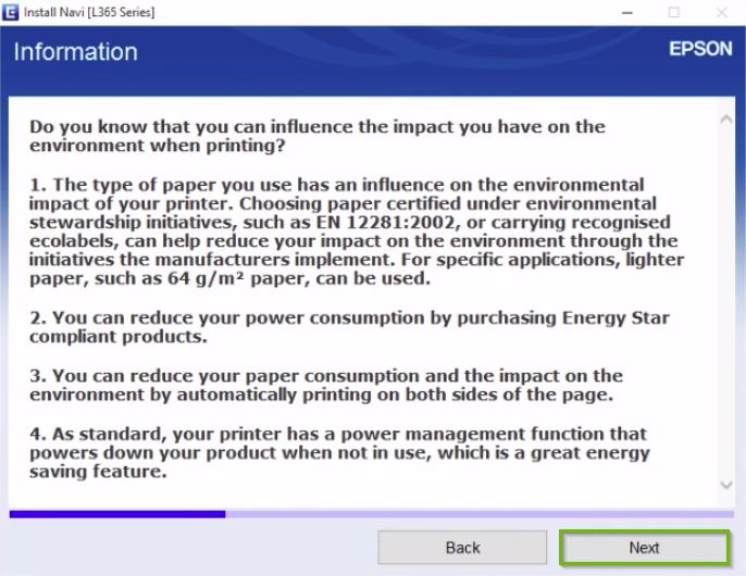 Epson printer installation screen highlighting the next button.