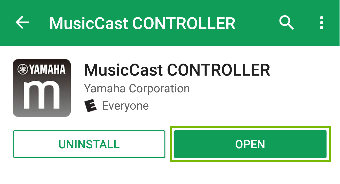MusicCast App Page with open button highlighted.