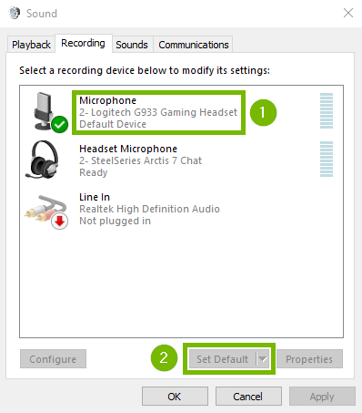 Screenshot of Recording tab in sound control panel with audio device highlighted and then set default highlighted.