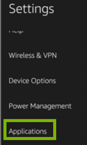 Applications option highlighted on Settings screen