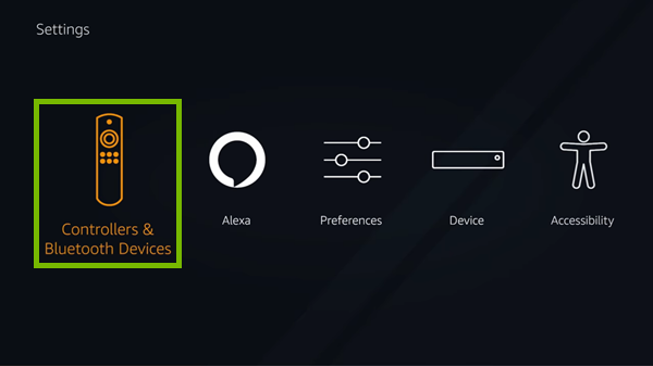 Controllers & Bluetooth Devices option highlighted in Fire TV settings.