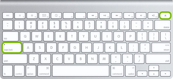 Caps Lock and Media Eject keys highlighted on Mac keyboard.