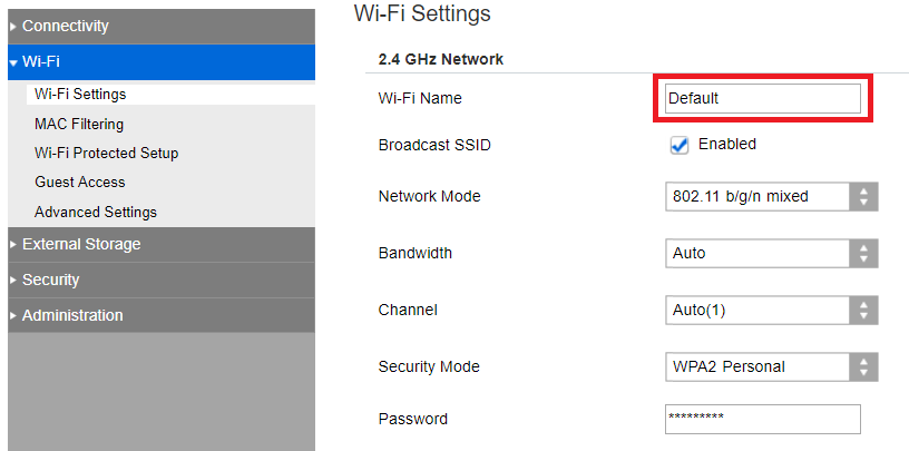Wi-Fi Settings with Wi-Fi Name box. Screenshot.