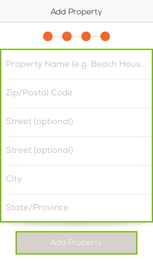 Property input page with input fields and Add Property button highlighted