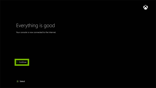 Xbox one everything is good screen.
