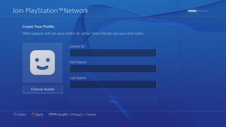 PlayStation Network profile editing screen.
