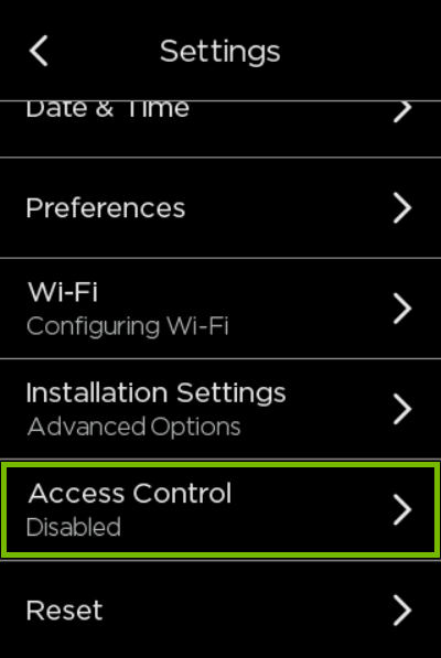 Access Control option highlighted in ecobee settings.