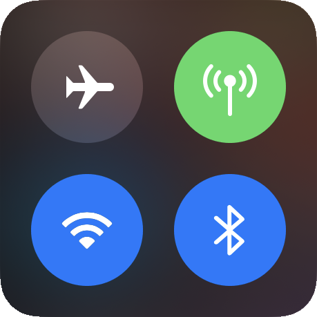 Bluetooth turned on in iOS Control Center.