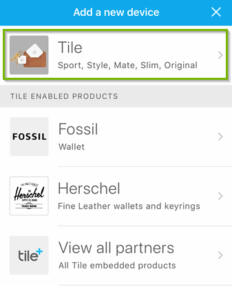 Tile app available device list with Tile selected. Screenshot.
