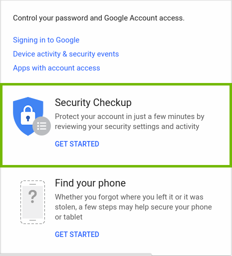 Google account page with security checkup highlighted.