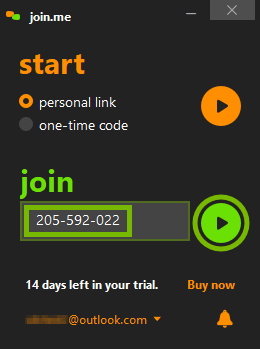 Meeting code and Join button highlighted in join.me app.