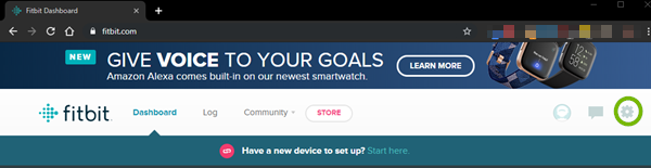 Settings for the fitbit website