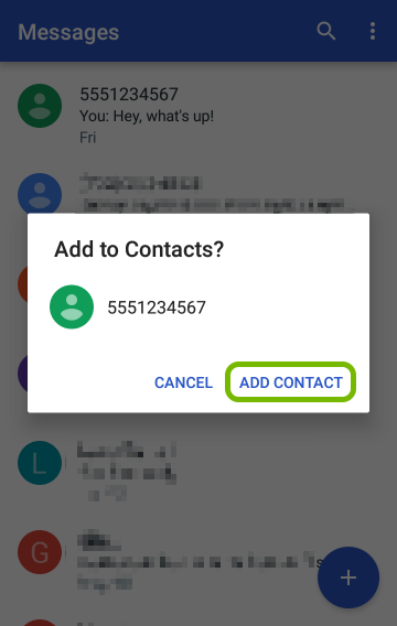 Add Contact highlighted on confirmation prompt.