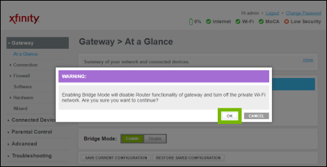 Warning about bridge mode with OK highlighted.