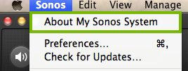 Sonos menu bar and the about my sonos system selection