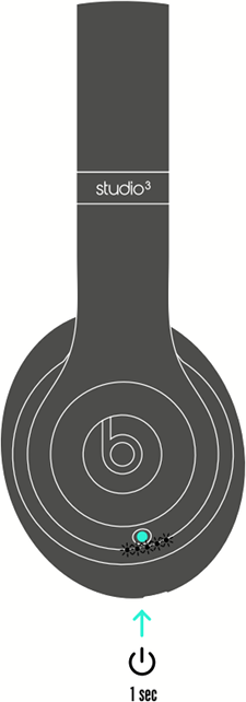 diagram of Beats headphones with the power button highlighted