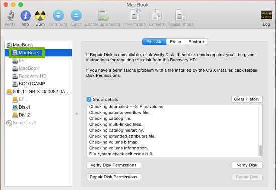 Drive highlighted in disk utility
