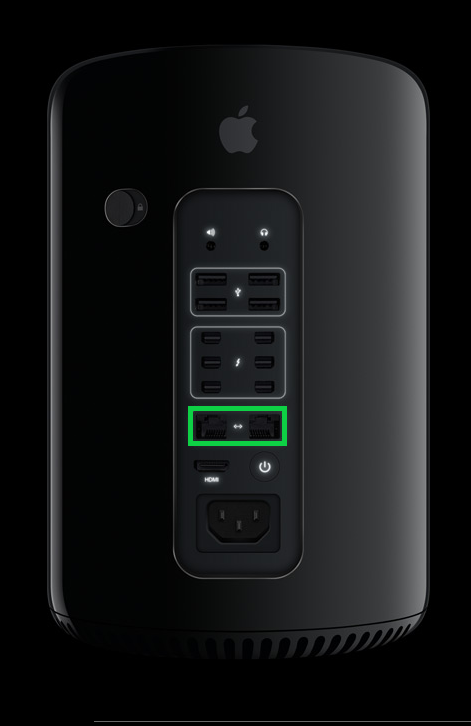 Apple Mac Pro with Ethernet ports highlighted