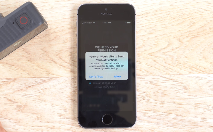Smartphone prompting the user for permission to display notifications.
