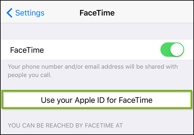 iOS Facetime settings highlighting the use your apple ID for Facetime option.
