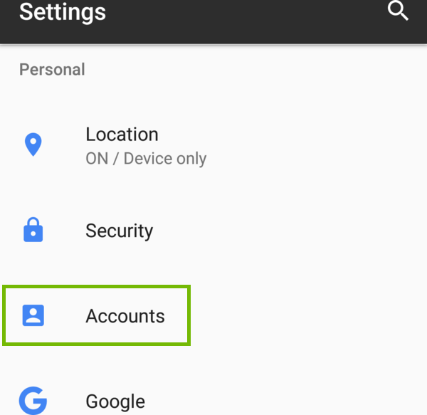 Android Settings with Accounts highlighted.