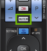 Remote with mute button highlighted.