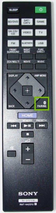 Remote control with the Pairing button highlighted.