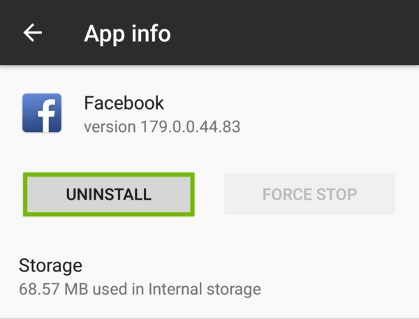 Facebook App with Uninstall highlighted.