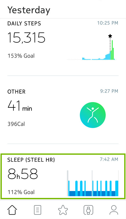 Sleep data showing in Health Mate app.