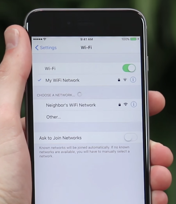 Wi-Fi networks list on phone