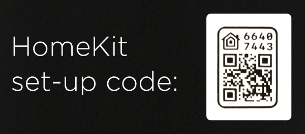 HomeKit code on back of installation manual.