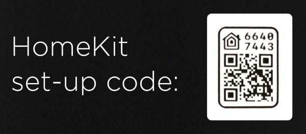 HomeKit code on back of installation manual.