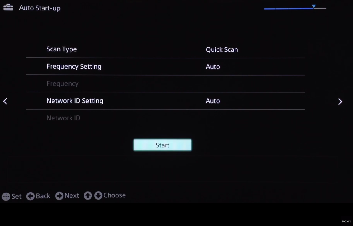 Scan type menu, start button highlighted