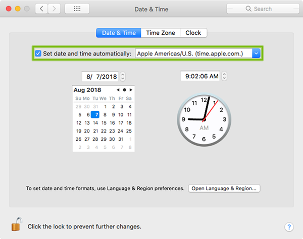 Date and Time preferences with Set date and time automatically highlighted.