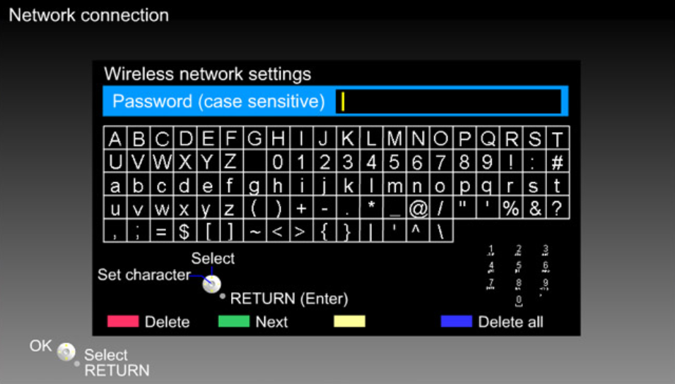 Panasonic TV network connection menu displaying the user being prompted to enter a wireless network password.