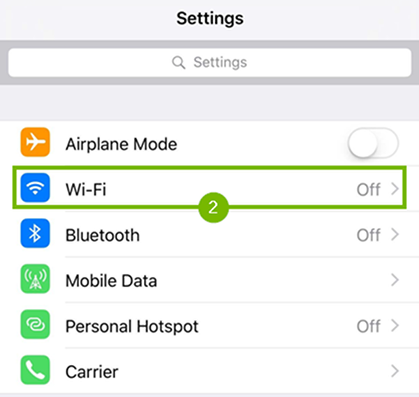 settings with Wi-Fi highlighted.