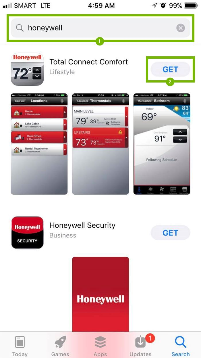 Honeywell app with Get button selected. Screenshot.