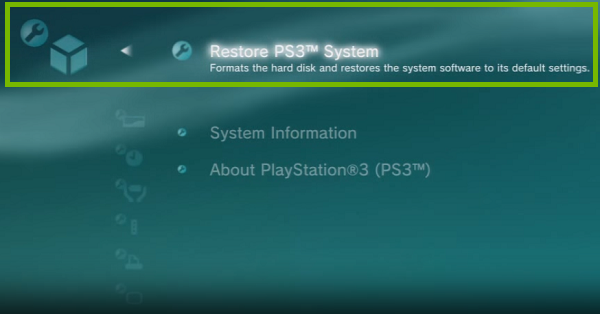 PS3 Menu with Restore ps3 System highlighted. Screenshot